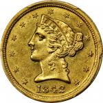 1842-C Liberty Half Eagle. Large Date. MS-61 (PCGS).