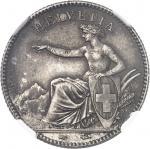 SUISSE Confédération Helvétique (1848 à nos jours). 1 franc 1850, A, Paris.