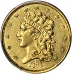1834 Classic Head Half Eagle. McCloskey-8. First Head, Large Plain 4. AU Details--Filed Rims (PCGS).