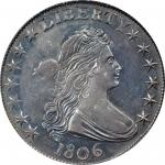 1806 Draped Bust Half Dollar. O-125, T-14. Rarity-5. Pointed 6, Stem Through Claw. AU-58 (PCGS).