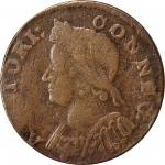 1786 Connecticut Copper. Miller 5.2-O.2, W-2560. Rarity-6-. Mailed Bust Left. Dr. Hall Ink on Edge.