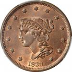 1839 Braided Hair Cent. N-8. Rarity-1. Head of 1840. MS-65 RB (PCGS). CAC.