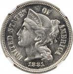 1881 Nickel Three-Cent Piece. Proof-65 (NGC).