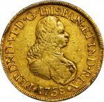 COLOMBIA. 8 Escudos, 1758-PN J. Popayan Mint. Ferdinand VI (1746-59). PCGS Genuine--Scratch, VF Deta
