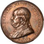1786 Franklin Natus Boston Medal. Bronze. 44.1 mm. By Augustin Dupre. Betts-620. Plain Edge. Specime