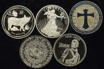 Lot of World Medals 世界のメダル 世界のメダル・コイン複製金鍍金1オンス(Oz)銀メダル(×5)  計5枚組 5pcs 返品不可 要下見 Sold as is No returns