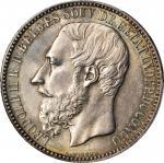 BELGIAN CONGO. Congo Free State. 5 Franc, 1887. Leopold II (1865-1909). PCGS MS-64+ Gold Shield.