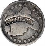 N.J. TRACY in a curved box punch on an 1834 Capped Bust dime. Brunk T-386, Rulau MV-354. Host coin V