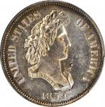 1859 Pattern Half Dollar. Judd-241, Pollock-297. Rarity-4. Silver. Reeded Edge. Proof-62 (PCGS).