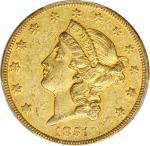 1851-O Liberty Head Double Eagle. Winter-1. AU-53 (PCGS). CAC.