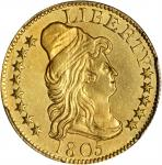 1805 Capped Bust Right Half Eagle. BD-3. Rarity-5+. Imperfect 1, Wide Date. AU Details--Cleaning (PC