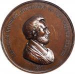 1862 Abraham Lincoln Indian Peace Medal. Medium Size. Bronze. 63 mm. Julian IP-39. MS-62 BN (NGC).