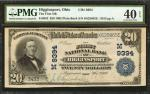 Higginsport, Ohio. $20 1902 Plain Back. Fr. 652. The First NB. Charter #9394. PMG Extremely Fine 40