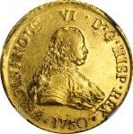 CHILE. 8 Escudos, 1750-So J. Santiago Mint. Ferdinand VI. NGC MS-60.