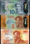 NEW ZEALAND. Lot of (3) Reserve Bank of New Zealand. 5 and 10 Dollars, 2015. P-177a, 191 & 192. Unci