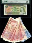 x Bank of Canada, $20, 1969, serial number EB6386487, signature Beattie and Rasminsky, also $2 (7),