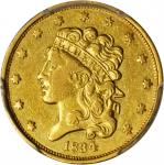 1834 Classic Head Half Eagle. McCloskey-4. First Head, Large Plain 4. AU Details--Cleaned (PCGS).