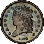 1836 Classic Head Half Cent. Original. Breen 1-A. Rarity-5. Proof-66 BN (PCGS).