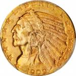 1909-D Indian Half Eagle. MS-64+ (PCGS).