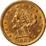 1903 Liberty Head Quarter Eagle. MS-61 (PCGS). OGH--First Generation.