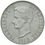 Italian coins;NAPOLI Francesco II (1859-1860) Piastra 1859 - Magliocca 809 AG (g 27.56) Graffietto a