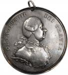 Undated (Circa 1812) George III Indian Peace Medal. Large Size. Solid Silver. 77 mm. 90.8 grams. Ada