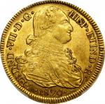 COLOMBIA. 1820-FM-PN 8 Escudos. Popayán mint. Ferdinand VII (1808-1833). Restrepo M128.37A. AU-53 (P