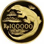 1974年印度尼西亚100,000盾精制金币。兰特里森特造币厂。INDONESIA. 100000 Rupiah, 1974. London or Llantrisant Mint. PCGS PRO