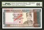 BRUNEI. Government of Brunei. 1000 Ringgit, ND (1979-86). P-12s. Specimen. PMG Gem Uncirculated 66 E