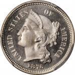1876 Nickel Three-Cent Piece. Proof-66+ Deep Cameo (PCGS). CAC.