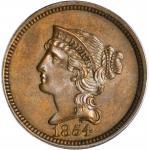 1854 Pattern Braided Hair Cent. Judd-161 Restrike, Pollock-187. Rarity-5. Bronze. Plain Edge. Proof-
