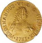 CHILE. 8 Escudos, 1751-So J. Santiago Mint. Ferdinand VI. NGC AU-58.