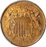 1873 Two-Cent Piece. Close 3. Proof-63 RB (PCGS). CAC.