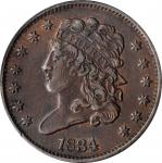 1834 Classic Head Half Cent. C-1, the only known dies. Rarity-1. EF-45 (ANACS).