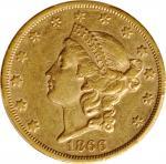 1866-S Liberty Head Double Eagle. Motto. AU-50 (PCGS).