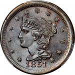 1851 Braided Hair Cent. N-6. Rarity-1. MS-67 BN (PCGS).