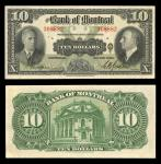 Canada. Bank of Montreal. $10. 1938. S562b. CH 505-62-04. Black on olive green. Spinney and Gordon.