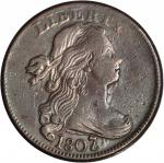 1807/6 Draped Bust Cent. S-273. Rarity-1. Large 7, Pointed 1. VF-20 Cleaned.