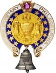 1892 Columbian Exposition Badge for an Official Representative from Philadelphia. Gold. 32 mm x 43 m