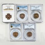 10円青銅貨 Bronze 10Yen 昭和27.28.32.33.34年(1952.53.57.58.59) 5枚組 Lot of 5 Coins
