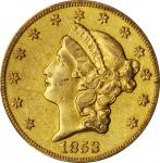 1853-O Liberty Head Double Eagle. Winter-1, the only known dies. AU Details--Graffiti (PCGS).