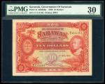 Sarawak, $10, 1.7.1929, semi fancy serial number C/1 111143, red-orange, Brooke at right,(Pick 16),