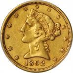 美国1892-S年5美元金币。