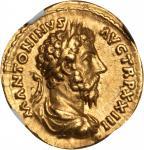 MARCUS AURELIUS, A.D. 161-180. AV Aureus (7.15 gms), Rome Mint, ca. A.D. 169-170. NGC Ch EF, Strike: