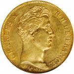 1830-A年40法郎。巴黎造币厂。 FRANCE. 40 Franc, 1830-A. Paris Mint. Charles X. NGC AU-50.