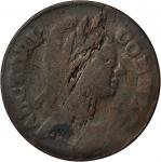 1785 Connecticut Copper. Miller 3.1-L, W-2325. Rarity-4+. Mailed Bust Right. VG-10 (PCGS).