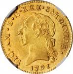 ITALY. Sardinia. Doppia, 1791. Vittorio Amadeo III. NGC MS-63.