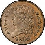 1809 Classic Head Half Cent. Cohen-1, Breen-2. Rarity-4+. About Uncirculated-55 (PCGS).