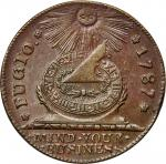 1787 Fugio copper. Newman 17-S, W-6935. Rarity-3. Pointed Rays, STATES UNITED. AU-58+ (PCGS).