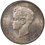 SPAIN: Alfonso XIII, 1886-1931, AR 5 pesetas, 1899, KM-707, a lovely example! PCGS graded MS63.